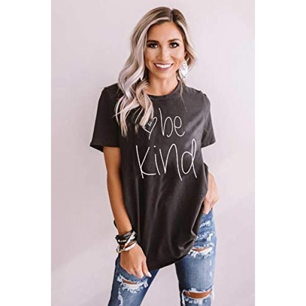 DUTUT Graphic Tshirt 2 Womens Be Kind T Shirt Summer Letter Print Short Sleeve Loose Tops Inspirational Graphic Tees