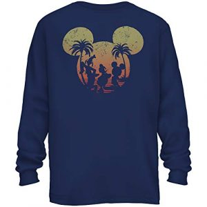Disney Graphic Tshirt 1 Mickey Mouse Donald Duck Goofy Sunset Disneyland World Funny Adult Graphic Long Sleeve Shirt for Men