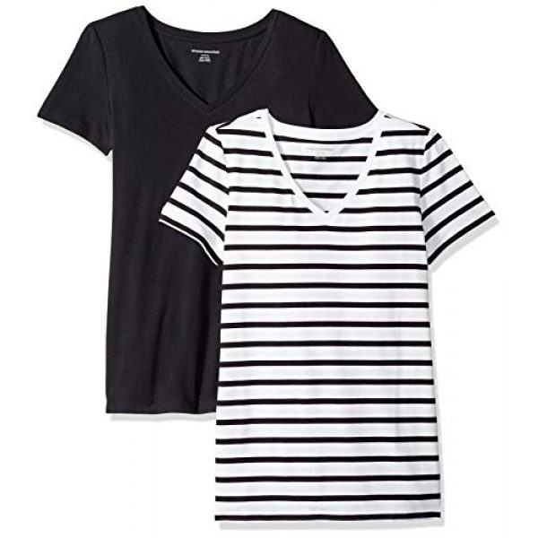 Amazon Essentials Graphic Tshirt 1 Women's 2-Pack Classic-Fit Short-Sleeve V-Neck T-Shirt