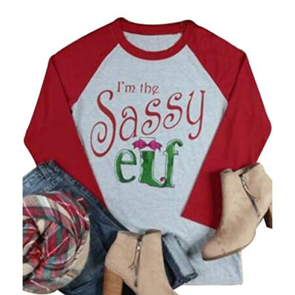 JINTING Graphic Tshirt 1 Im The Sassy Elf Shirts Women Raglan Christmas Baseball Shirts Letter Print 3/4 Sleeve Graphic Tee Shirts