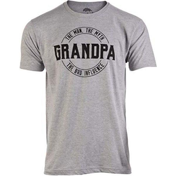 Ann Arbor T-shirt Co. Graphic Tshirt 1 Grandpa: Man, Myth, Bad Influence | Funny Dad Joke Papa Grandfather Humor Shirt for Men T-Shirt