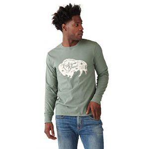 Lucky Brand Graphic Tshirt 1 Men's Long Sleeve Crew Neck Bison Tee Shirt