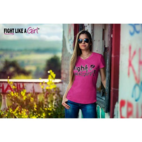 Fight Like a Girl Graphic Tshirt 3 Signature Breast Cancer T-Shirt Ladies V-Neck Hot Pink