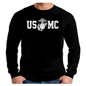 Lucky Ride Graphic Tshirt 1 Marine Corps Bull Dog Front and Back USMC Men's T-Shirt Longsleeve