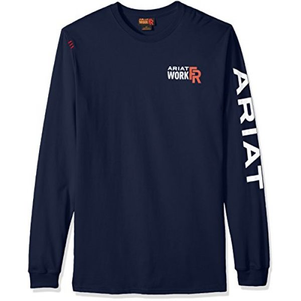 ARIAT Graphic Tshirt 1 Men's Big and Tall Flame Resistant Long Sleeve Logo Work Crewhenley Shirt
