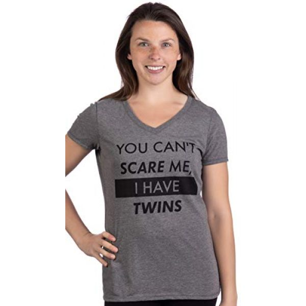 Ann Arbor T-shirt Co. Graphic Tshirt 2 You Can't Scare Me, I Have Twins | Funny Twin Life Joke V-Neck T-Shirt for Women