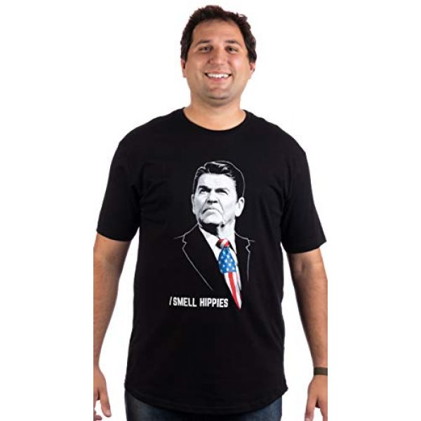 Ann Arbor T-shirt Co. Graphic Tshirt 3 Tall Tee: I Smell Hippies   Funny Ronald Reagan Conservative Merica USA T-Shirt