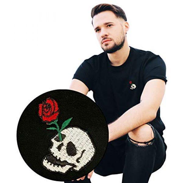 Riot Society Graphic Tshirt 1 Skull Rose Embroidered Men's T-Shirt - Black, Medium