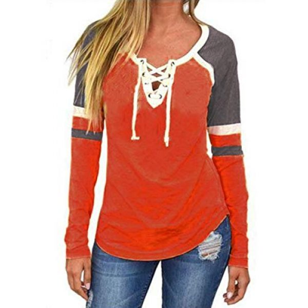 Famulily Graphic Tshirt 1 Women's Lace Up Front Long Sleeve Tops Striped Crew Neck Raglan Baseball Tee Shirt