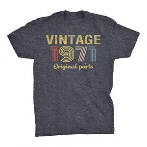 ShirtInvaders Graphic Tshirt 1 50th Birthday Gift Shirt - Retro Birthday - Vintage 1971 Original Parts