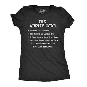 Crazy Dog T-Shirts Graphic Tshirt 1 Womens The Auntie Code T Shirt Funny Gift for Aunt Sarcastic Novelty Graphic Tee