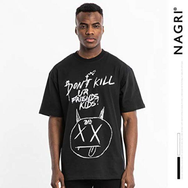 NAGRI Graphic Tshirt 3 Men's Gengar Vintage T Shirt Don't Kill Hip-Hop Graphic Printing Rap Music Tee White Black