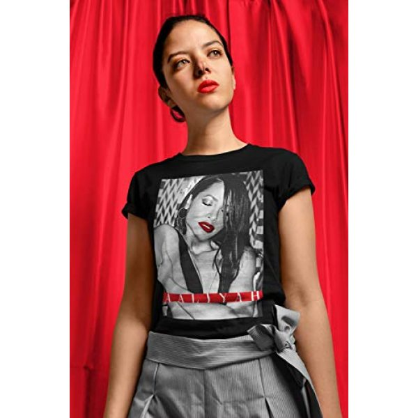 Ripple Junction Graphic Tshirt 3 Aaliyah Juniors Red Lips with Red Type Light Weight 100% Cotton Crew T-Shirt