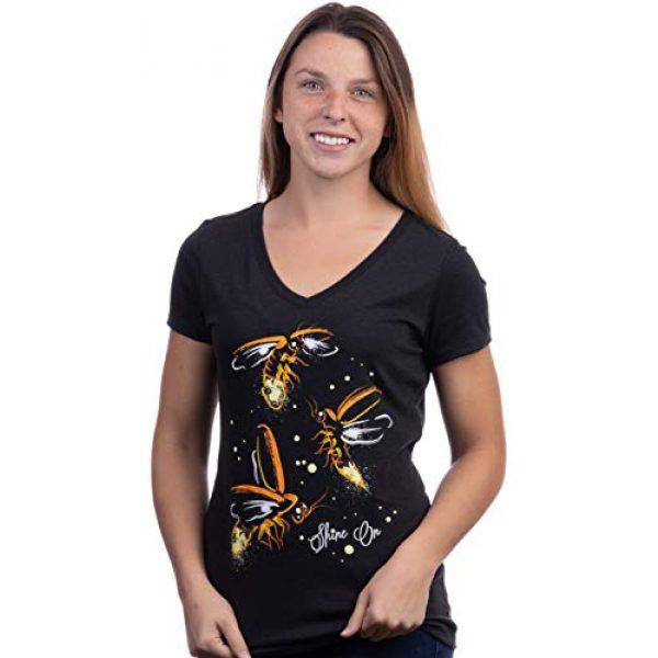 Ann Arbor T-shirt Co. Graphic Tshirt 2 Fireflies | Lightning Bug Firefly Nature Art Insect Fire Fly V-Neck T-Shirt for Women