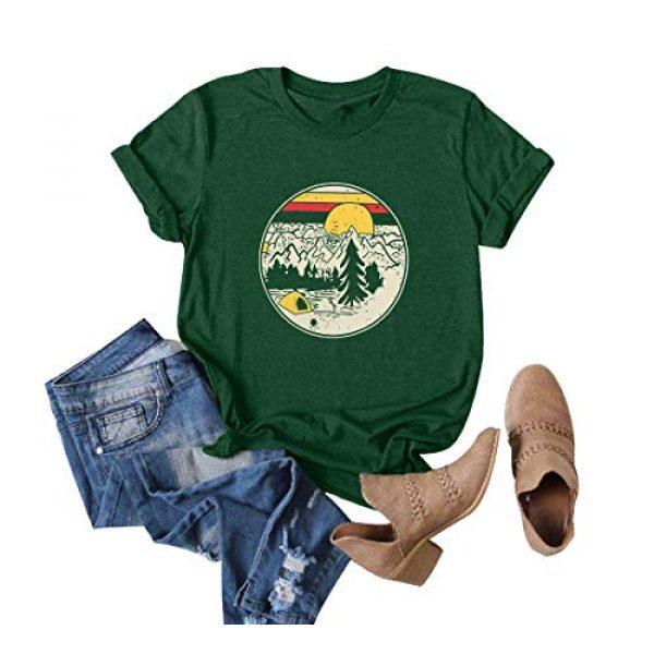GEMLON Graphic Tshirt 1 Women Mountain Sunset T-Shirt Graphic Camping Hiking Shirt Vintage Tees Short Sleeve Tee Tops