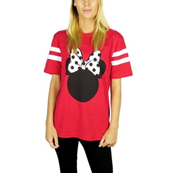 Disney Graphic Tshirt 1 Womens Minnie Mouse Varsity Football Tee Red