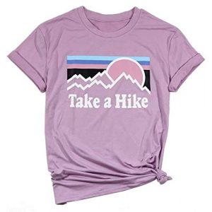 Erxvxp Graphic Tshirt 1 Women Take A Hike Letter Printed Casual T-Shirt Round Neck Tops