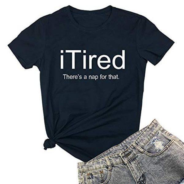 YITAN Graphic Tshirt 1 Women I Tired Graphic Cute Funny Novelty Tee Shirts