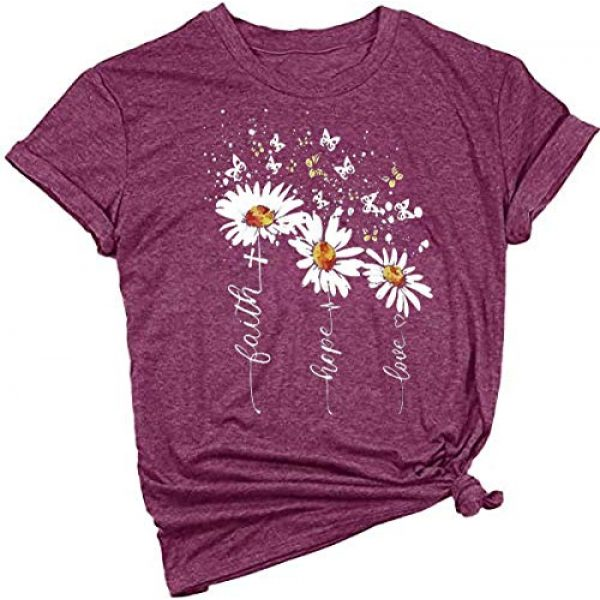 Beopjesk Graphic Tshirt 1 Women's Faith Hope Love T-Shirt Casual Cross Daisy Butterfly Graphic Tees Tops