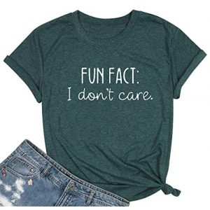 KIDDAD Graphic Tshirt 1 Fun Fact T Shirt for Women I Don't Care Shirts Cheerful Letter Print Tee Casual Fall Humorous Funny Saying Tops