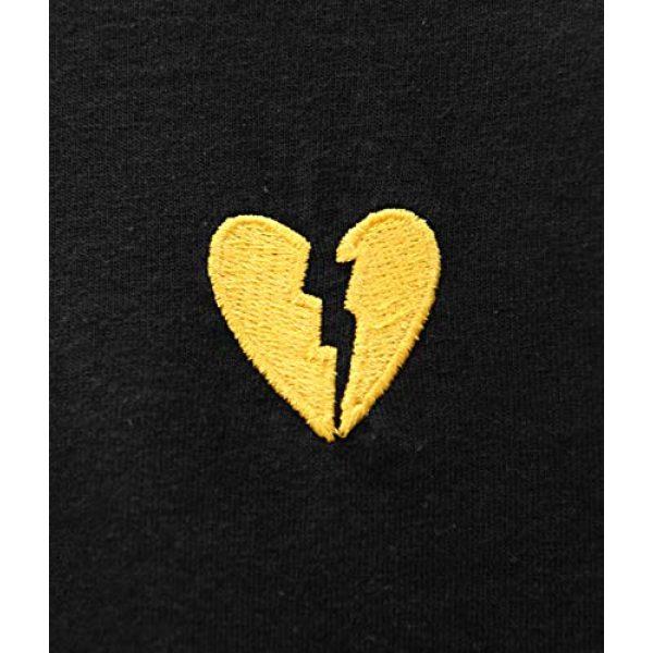Riot Society Graphic Tshirt 4 Broken Heart Embroidered Mens T-Shirt - Black (Yellow Heart), Medium