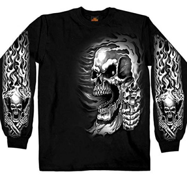 Hot Leathers Graphic Tshirt 6 Hot Leathers Assassin Double Sided Long Sleeve T-Shirt (Black, Medium)