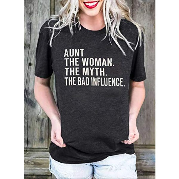 BOMYTAO Graphic Tshirt 3 Aunt The Woman The Myth The Bad Influence T-Shirt Womens Funny Auntie Shirts Casual Vacation Short Sleeve Tee Tops