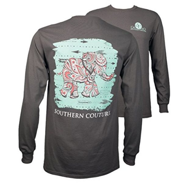 Southern Couture Graphic Tshirt 1 SC Classic Paisley The Elephant on Longsleeve Womens Classic Fit T-Shirt - Charcoal