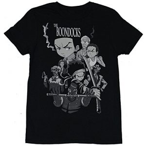 Kangtians Graphic Tshirt 1 Drovion Men's Black The Boondocks Character Cast Fighting Collage T-Shirt