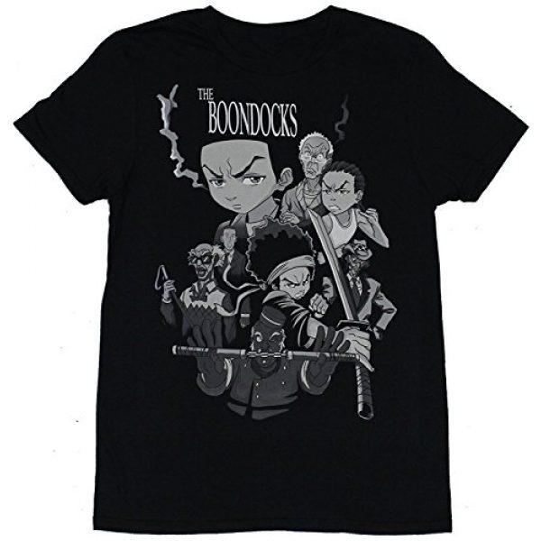 Kangtians Graphic Tshirt 1 Drovion Men's Black The Boondocks Character Cast Fighting Collage T-Shirt