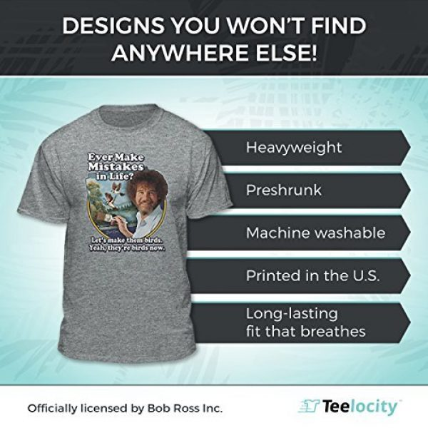 Teelocity Graphic Tshirt 5 Bob Ross Make Mistakes Into Birds Official Licensed T-Shirt