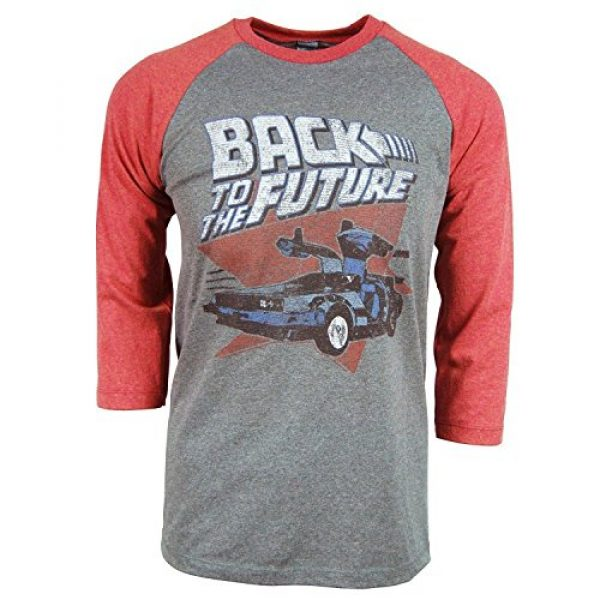 American Classics Graphic Tshirt 1 Back to The Future Red and Blue Adult Soft Raglan T-Shirt