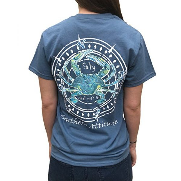 Southern Attitude Graphic Tshirt 1 Salty Deal with It Crab Indigo Blue Short Sleeve T-Shirt