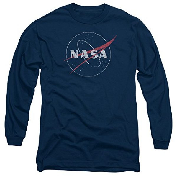 Trevco Graphic Tshirt 1 NASA Distressed Logo Unisex Adult Long-Sleeve T Shirt for Men and Women