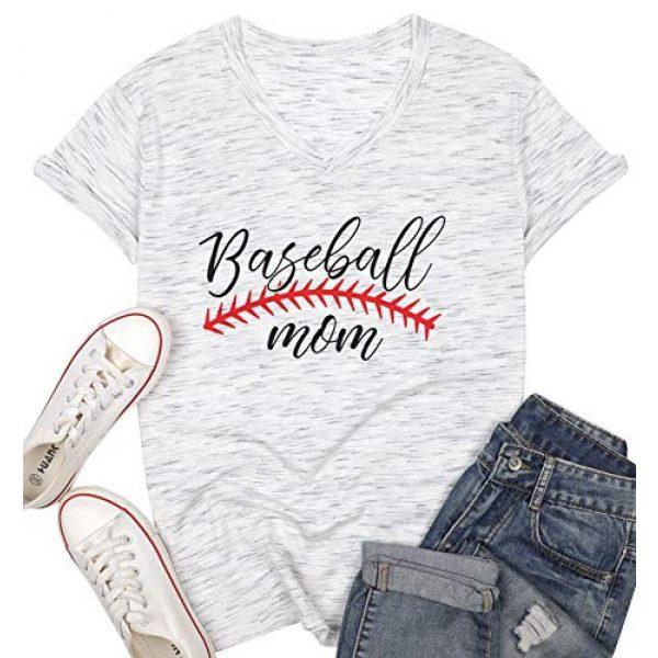 UNIQUEONE Graphic Tshirt 2 Baseball Mom T-Shirt Women Letter Print Funny Tops Short Sleeve Casual Tee