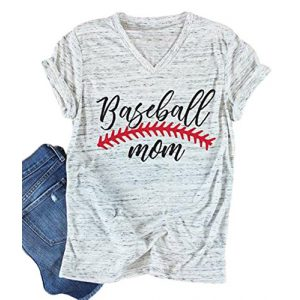 UNIQUEONE Graphic Tshirt 1 Baseball Mom T-Shirt Women Letter Print Funny Tops Short Sleeve Casual Tee