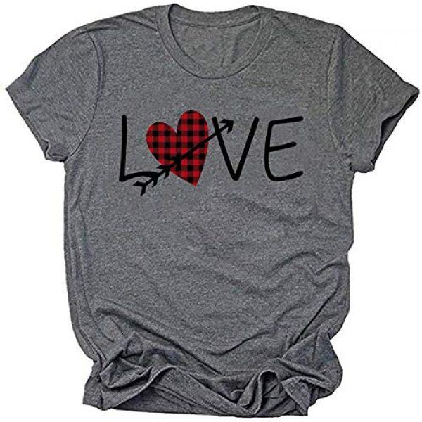 Popshion Graphic Tshirt 1 Valentine's Day Heart Printed T Shirt St. Patrick's Day Women Shamrock Blouse
