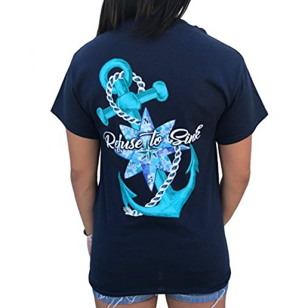 Southern Attitude Graphic Tshirt 1 Refuse to Sink Anchor Navy Blue Short Sleeve T-Shirt