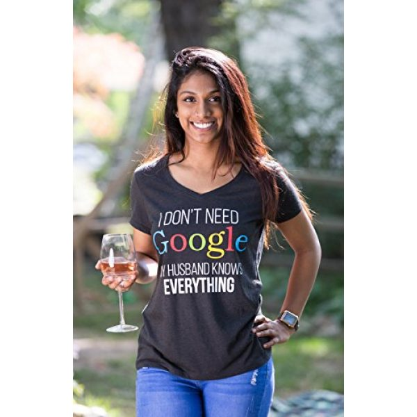 Ann Arbor T-shirt Co. Graphic Tshirt 5 I Don't Need Google, My Husband Knows Everything | Wife Women's V-Neck Graphic T-Shirt