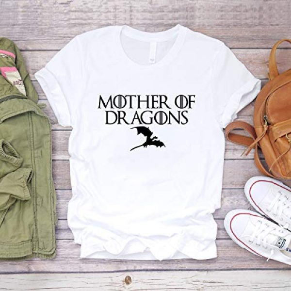 ANRevelinCN Graphic Tshirt 3 Unisex Cotton Round Neck Short Sleeved T-Shirts Mother of Dragons T-Shirts Game of Thrones