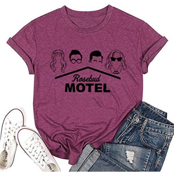 DLSWTGSY Graphic Tshirt 1 Womens Rosebud Motel T-Shirts Short Sleeve Graphic Printed Tshirt Funny Tee Tops Round Neck Women Clothes