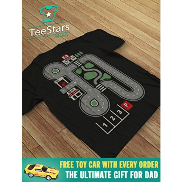 Tstars Graphic Tshirt 5 Play Cars on Daddy's Back Shirt Gift for Dad and Kids Funny Car Play Mat T-Shirt