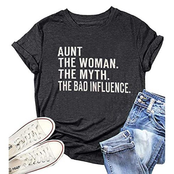 BOMYTAO Graphic Tshirt 4 Aunt The Woman The Myth The Bad Influence T-Shirt Womens Funny Auntie Shirts Casual Vacation Short Sleeve Tee Tops