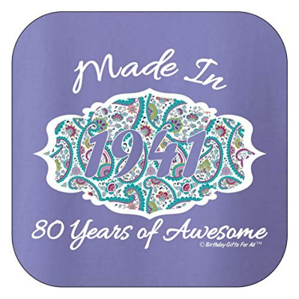 Birthday Gifts For All Graphic Tshirt 2 80th Birthday Gift Made 1941 Paisley Crest Ladies T-Shirt