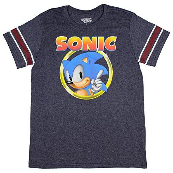Bioworld Graphic Tshirt 1 Sonic The Hedgehog Shirt Mens Golden Ring Logo Football Tee
