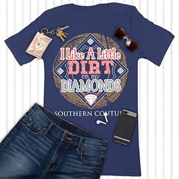 Southern Couture Graphic Tshirt 5 SC Classic Dirt on My Diamonds Ball Field Womens Classic Fit T-Shirt - Metro Blue