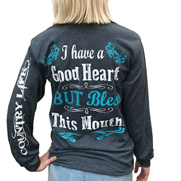 Southern Attitude Graphic Tshirt 1 I Have a Good Heart But Bless This Mouth Heather Gray Long Sleeve Women's Shirt