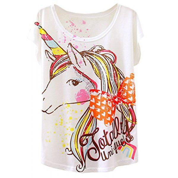 futurino Graphic Tshirt 1 Women's Summer Colorful Bow Tie Unicorn Print Short Sleeve T-Shirt Tops