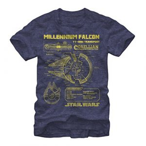 Fifth Sun Graphic Tshirt 1 Men's Star Wars Millennium Falcon Schematics T-Shirt