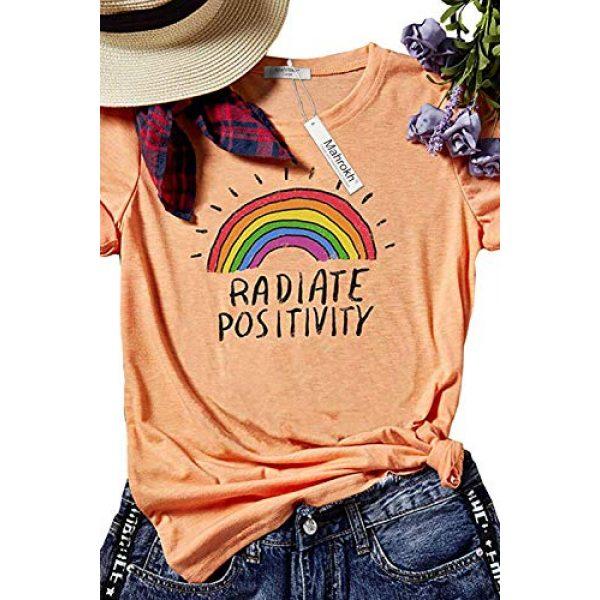 Mahrokh Graphic Tshirt 1 Women Radiate Positivity Rainbow Shirt Funny T Shirts Short Sleeve Graphic Tees Casual Tops